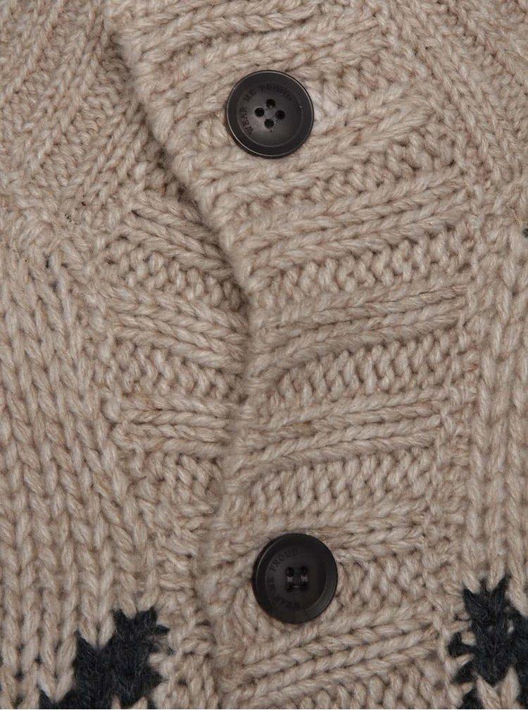 Béžový vzorovaný kardigan s vysokým límcem a knoflíky Blend