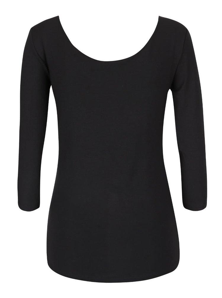 Čierne tričko s okrúhlym výstrihom a 3/4 rukávmi Rich & Royal