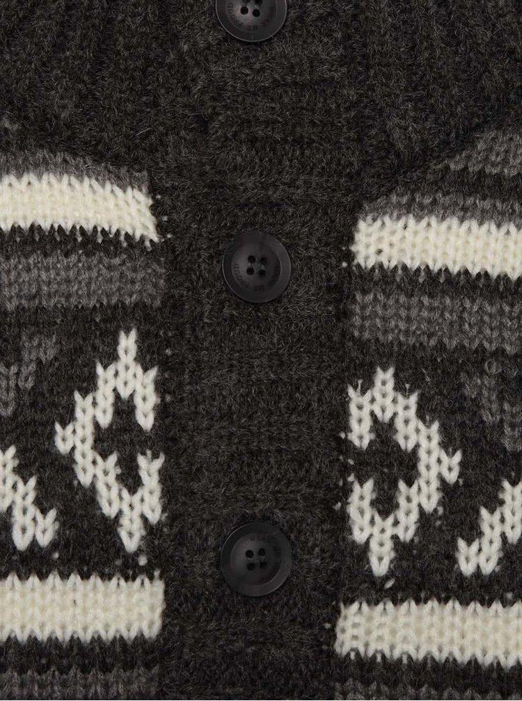 Tmavě šedý vzorovaný svetr s vysokým límcem Blend