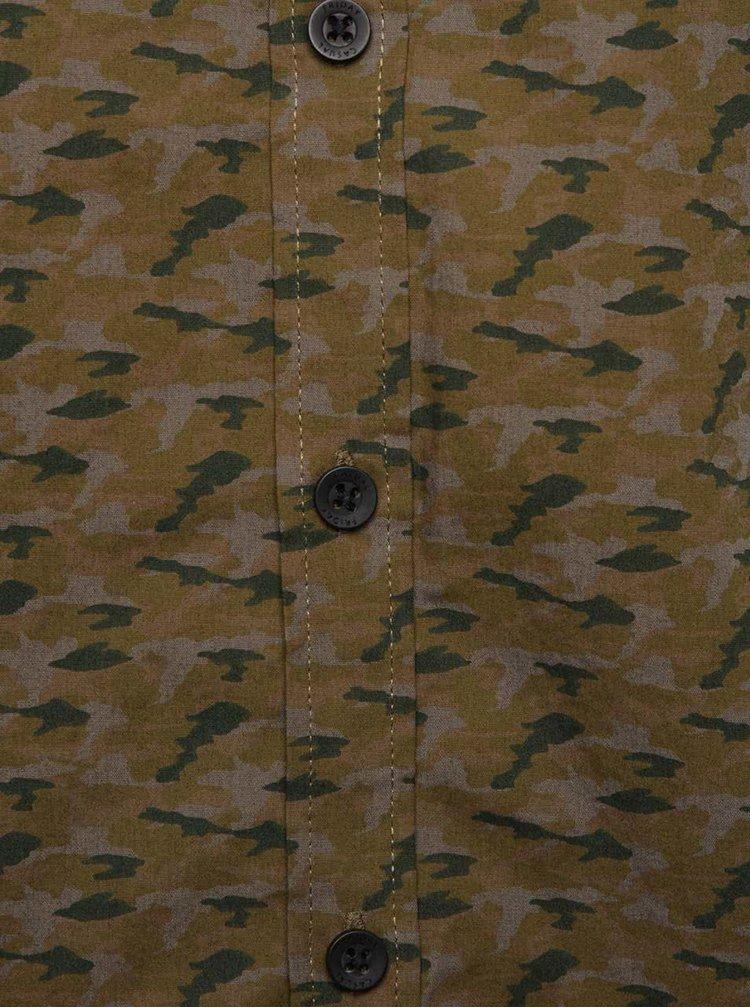 Kaki vzorovaná pánska košeľa Casual Friday