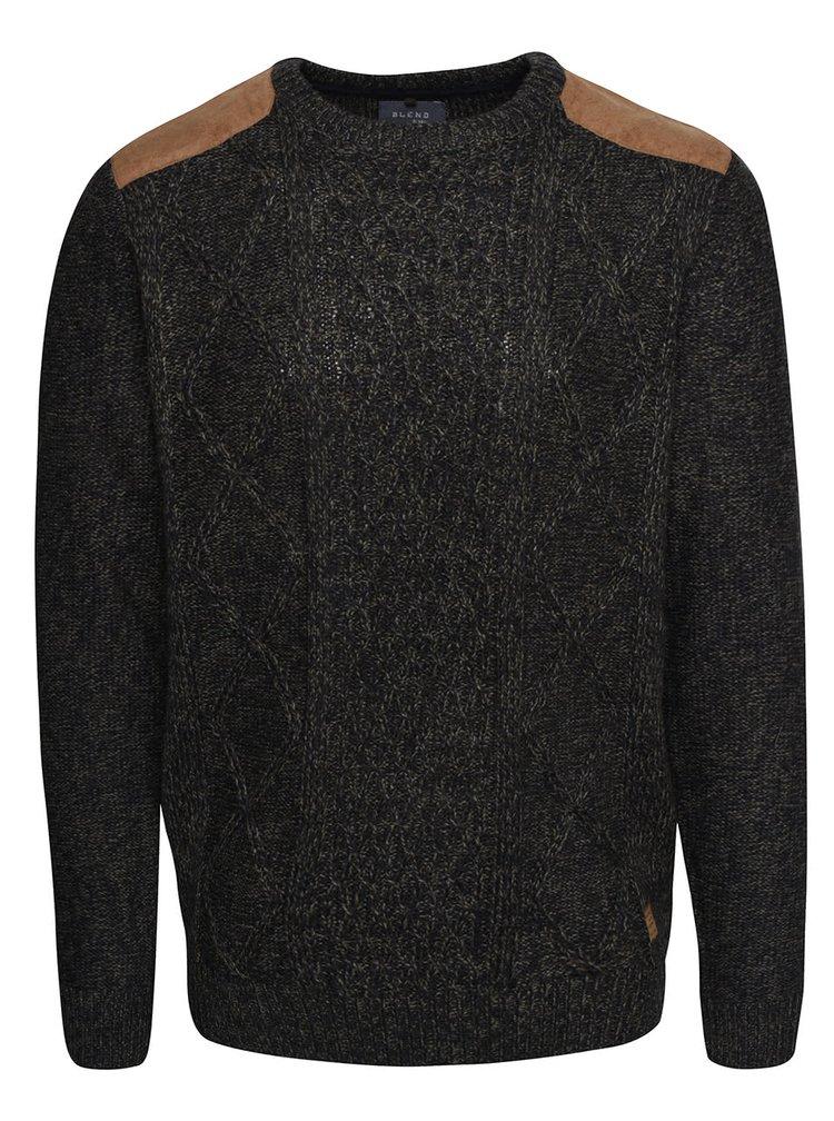 Modrozelený žíhaný svetr s hnědými detaily Blend