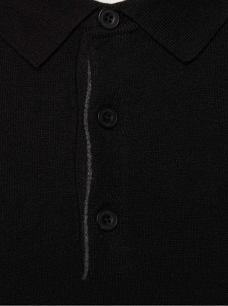 Pulover negru Casual Friday cu nasturi