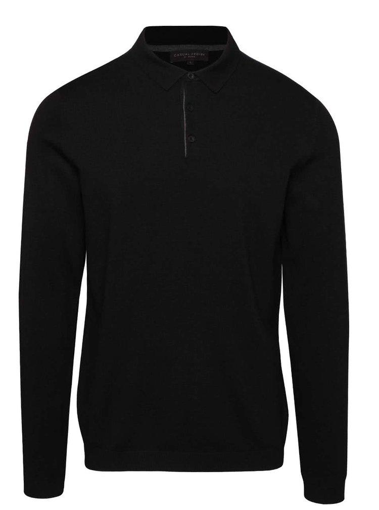Čierny pánsky sveter s golierom Casual Friday
