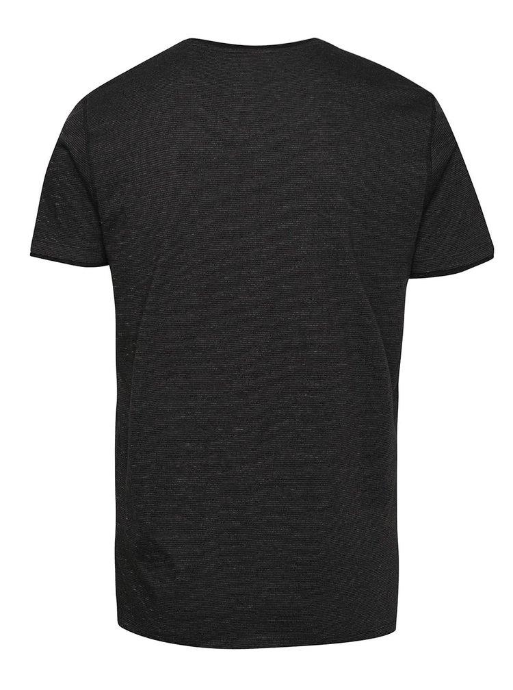 Tricou negru s.Oliver cu model discret și print