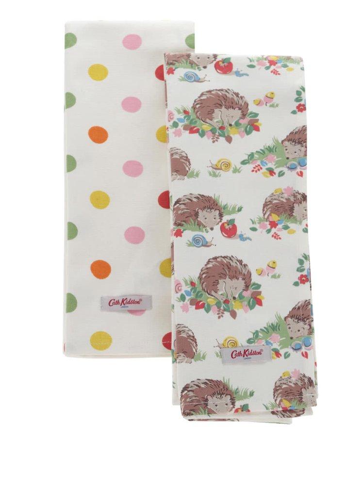Súprava dvoch utierok v krémovej farbe s motívom bodiek a ježkov Cath Kidston