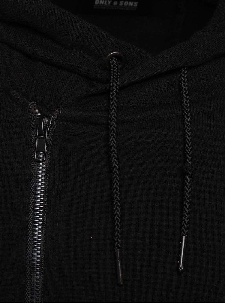 Hanorac negru ONLY & SONS Firminho din bumbac cu inchidere asimetrica