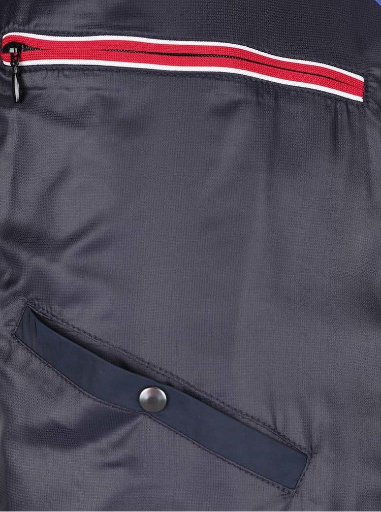 Tmavomodrá pánska bunda s golierom bugatti