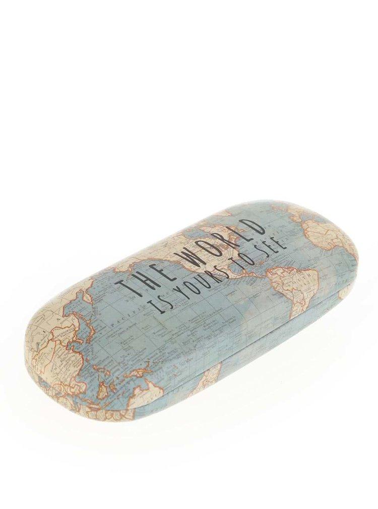 Mentolové puzdro na okuliare s mapou sveta Sass & Belle Vintage Map