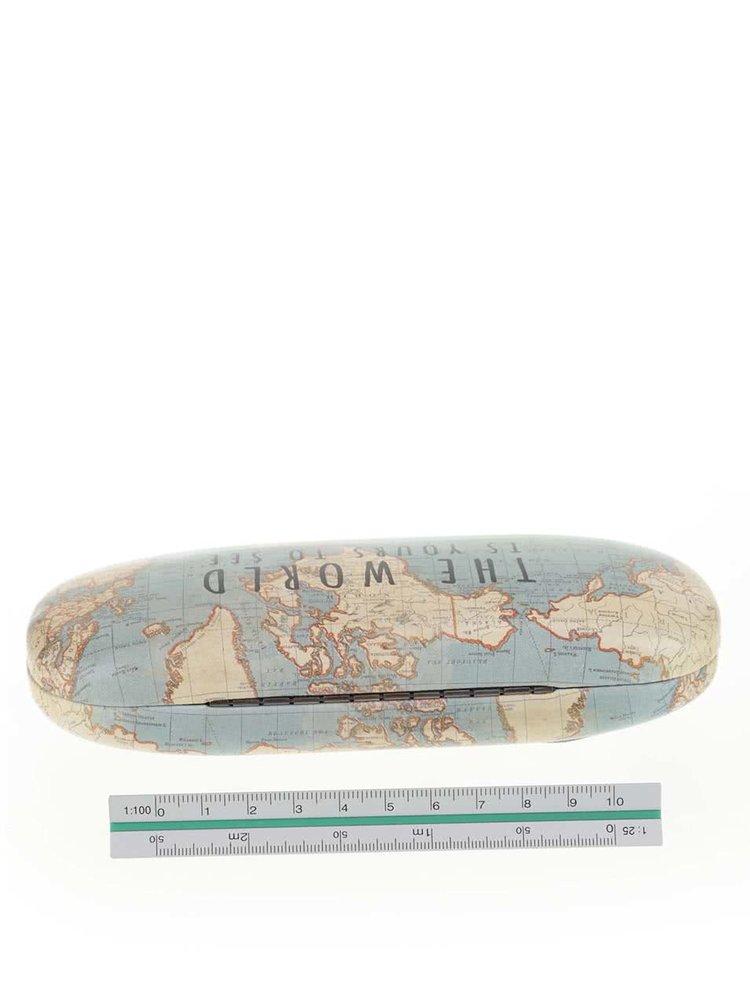 Mentolové pouzdro na brýle s motivem mapy světa Sass & Belle Vintage Map