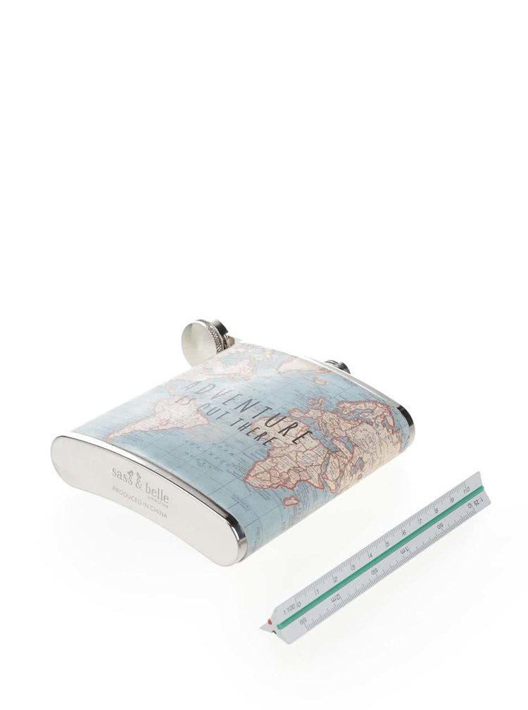 Mentolová placatka s mapou světa Sass & Belle Vintage Map