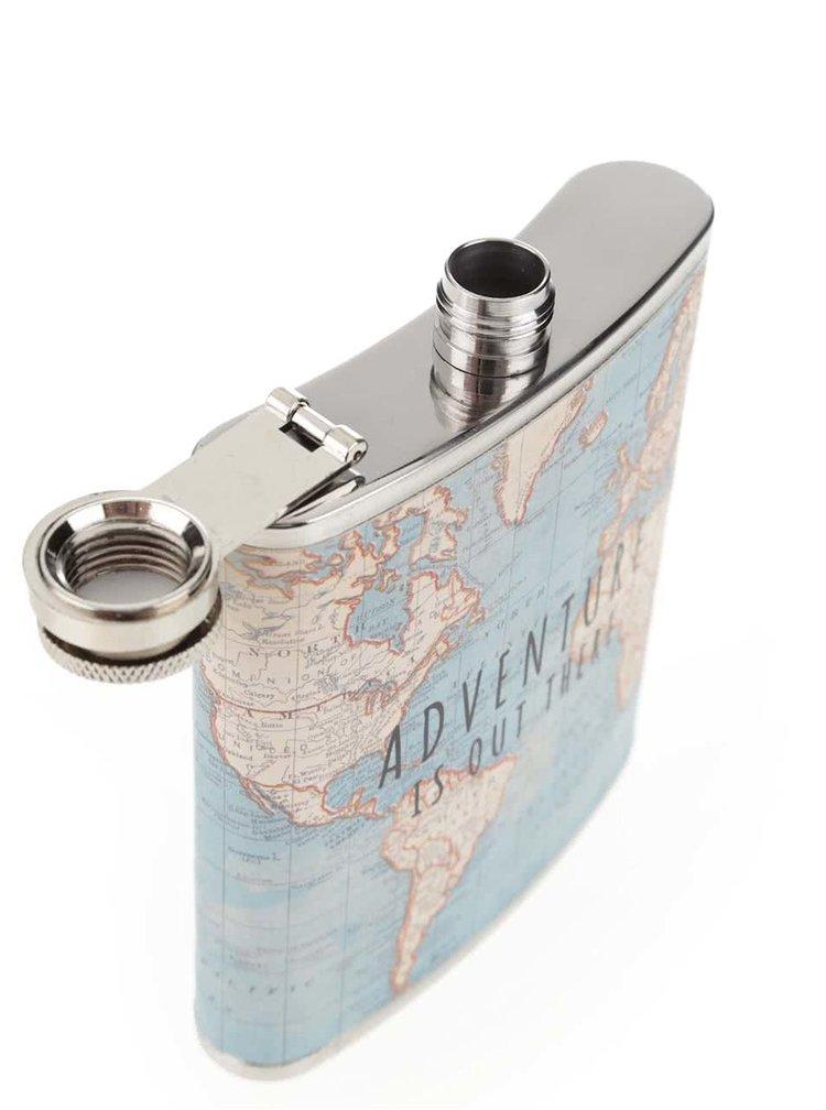 Sticluta albastra din otel Sass & Belle cu model harta