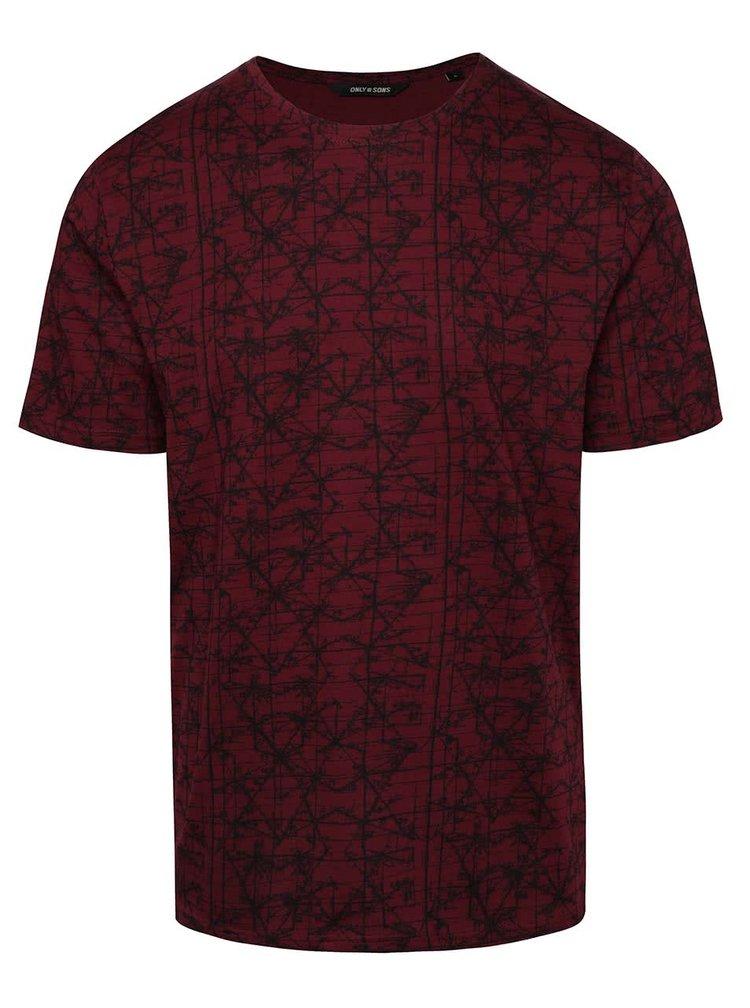 Tricou roșu burgundy ONLY & SONS Asvin din bumbac cu print