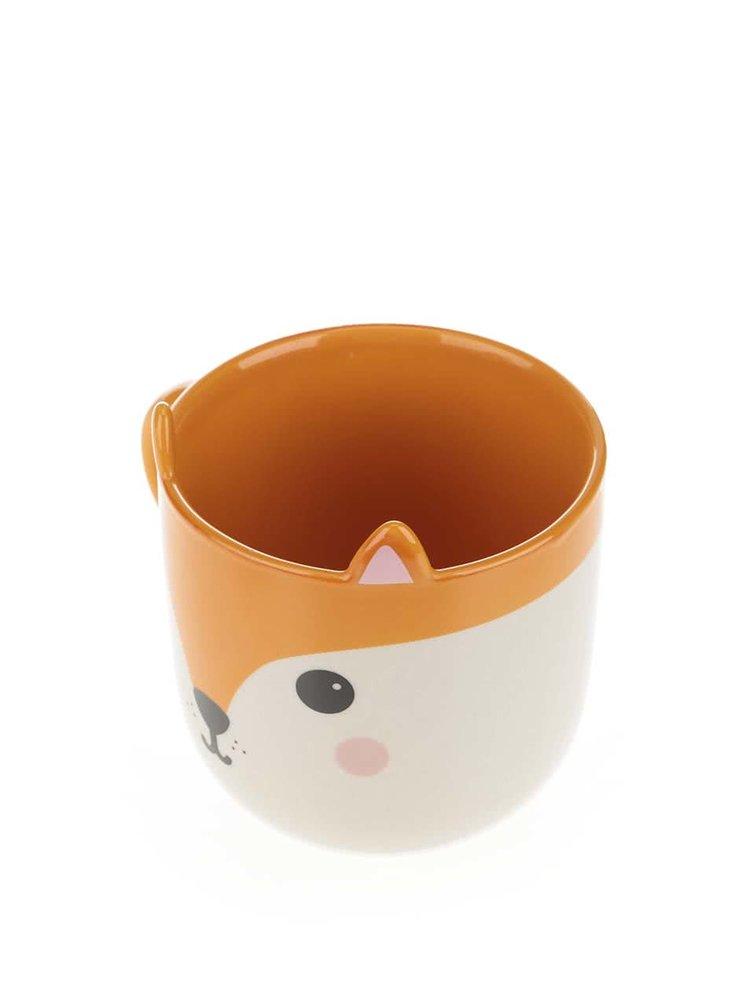 Krémovo-oranžový keramický hrnek s liškou Sass & Belle Hiro Fox Kawaii