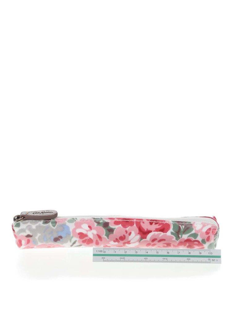 Růžovo-červený úzký květovaný penál Cath Kidston