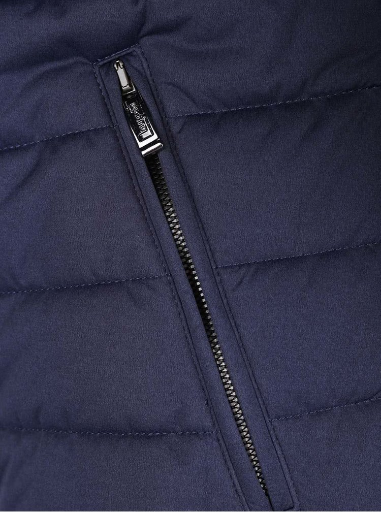 Tmavomodrá pánska zimná prešívaná bunda bugatti