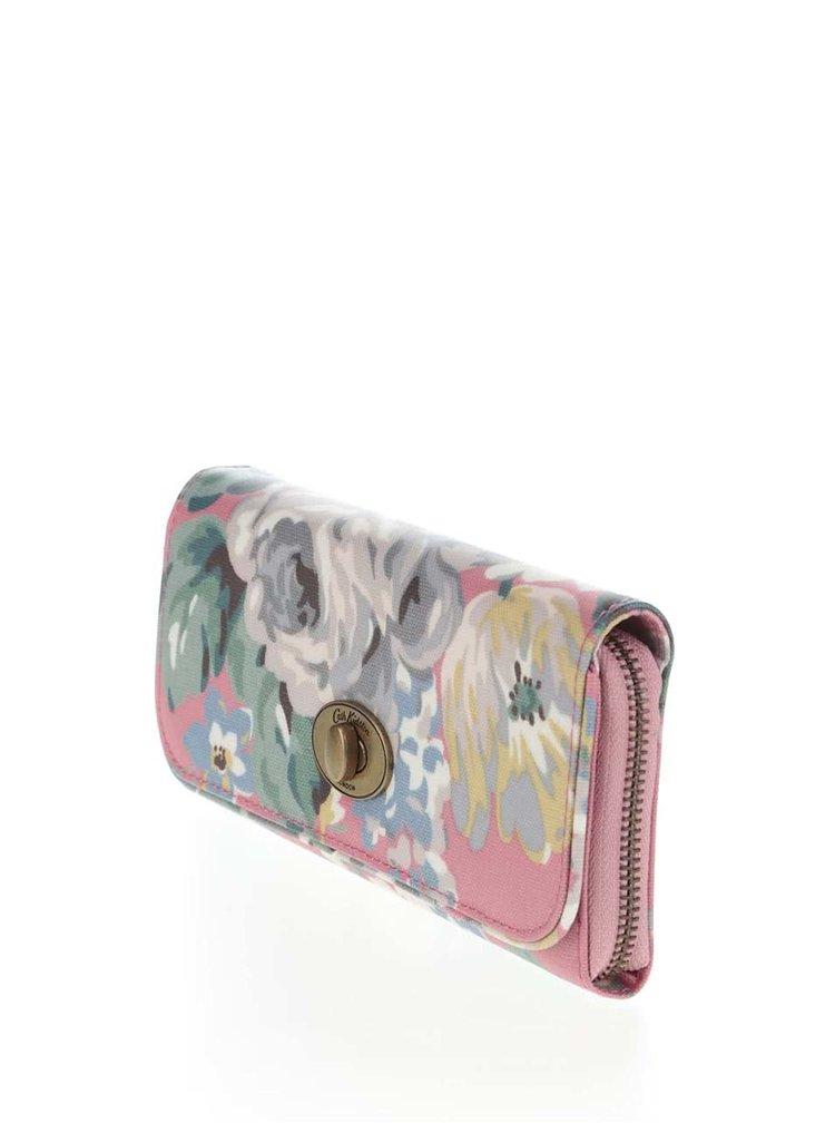 Ružová kvetovaná peňaženka so sponou Cath Kidston