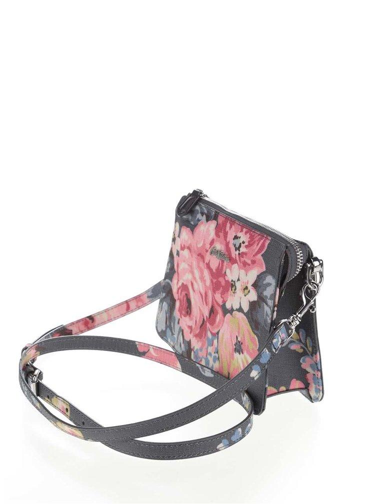 Tmavě šedá květovaná crossbody kabelka Cath Kidston