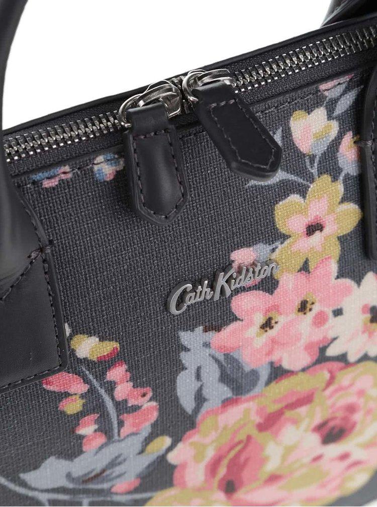 Tmavě šedá květovaná kabelka Cath Kidston