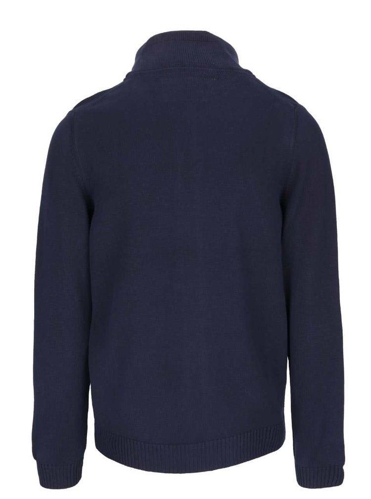 Modrý pánsky sveter na zips bugatti
