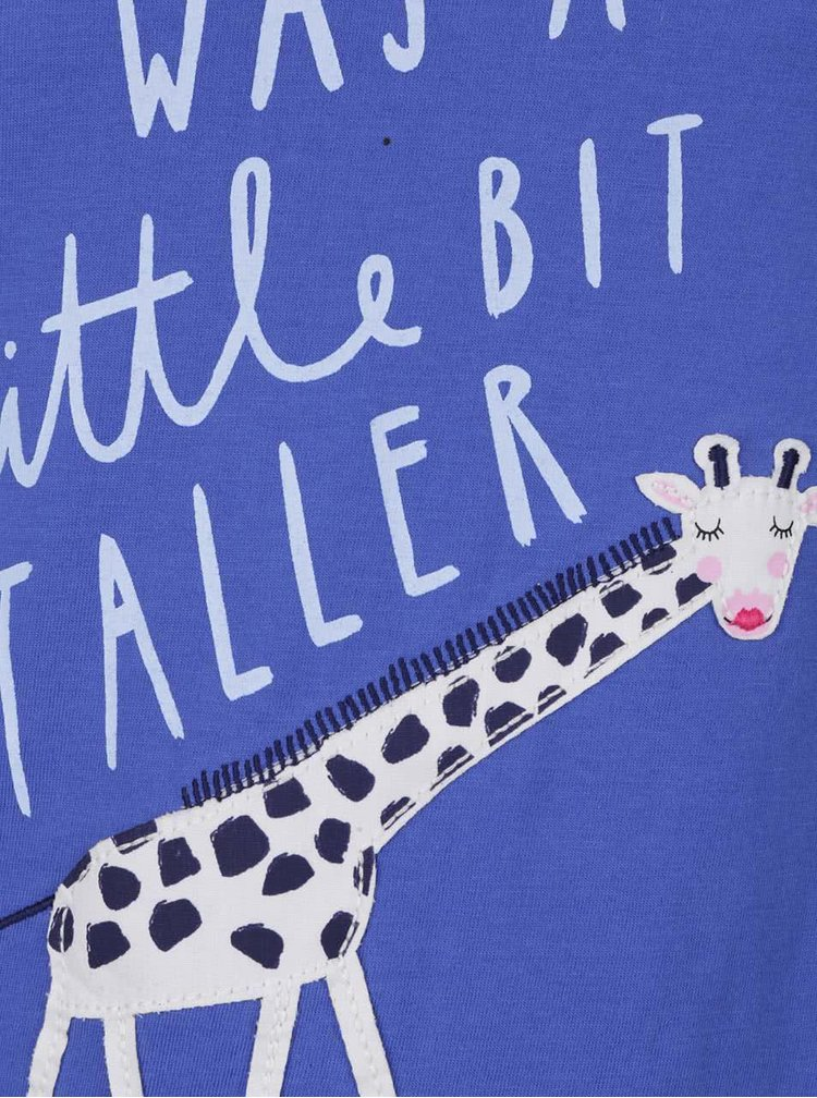 Modré dievčenské tričko s potlačou žirafy a dlhým rukávom Tom Joule Ava