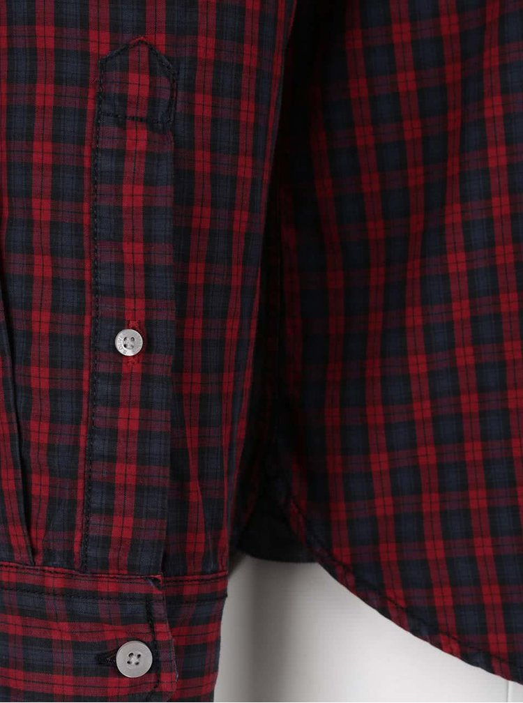 Modro-červená pánska vzorovaná slim-fit košeľa s.Oliver