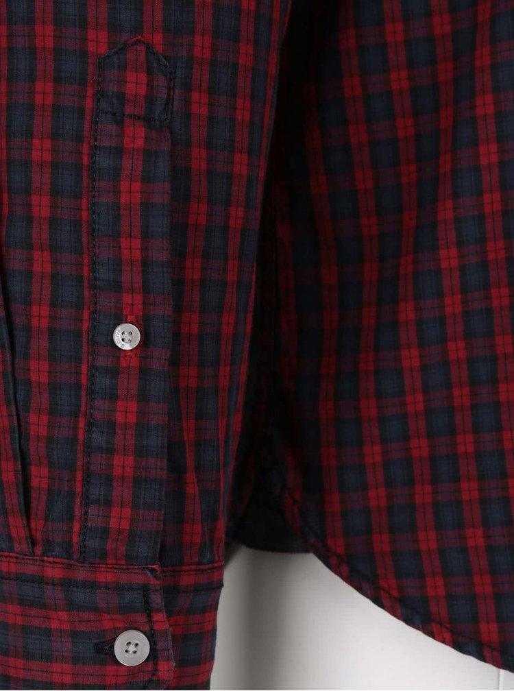 Modro-červená pánská vzorovaná slim-fit košile s.Oliver