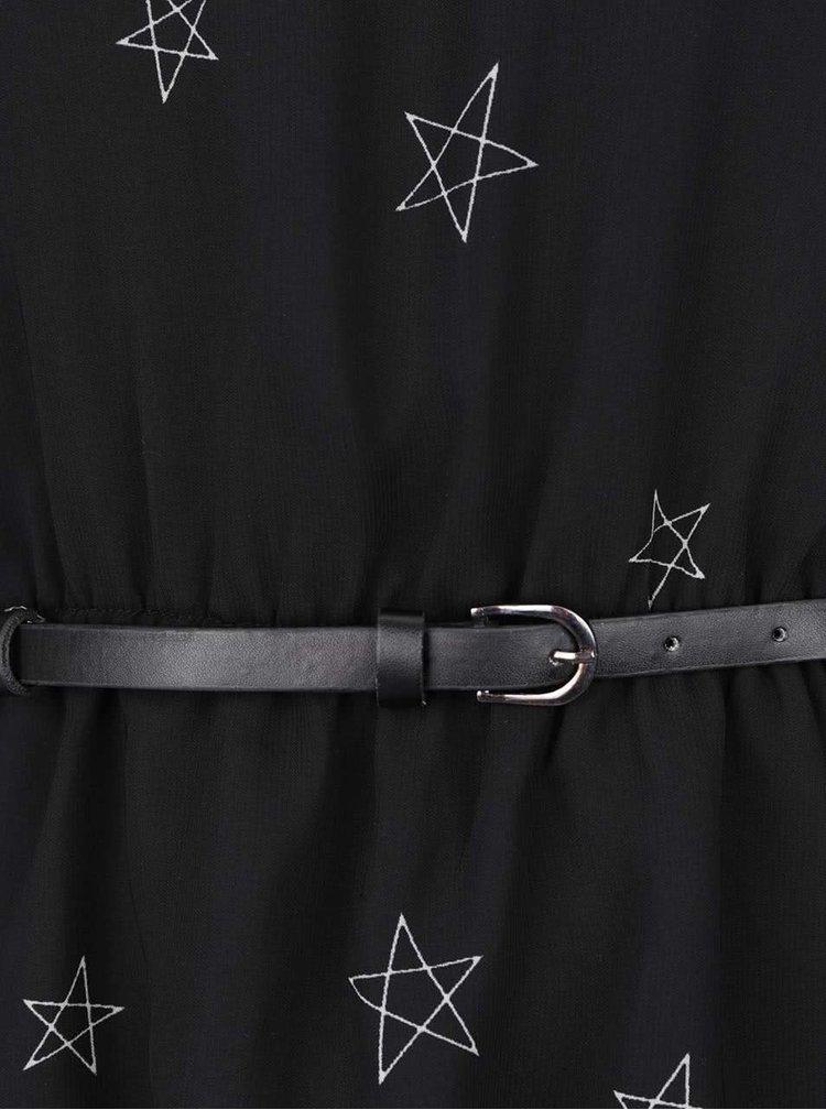 Černé šaty s páskem a dlouhými rukávy ONLY Stella