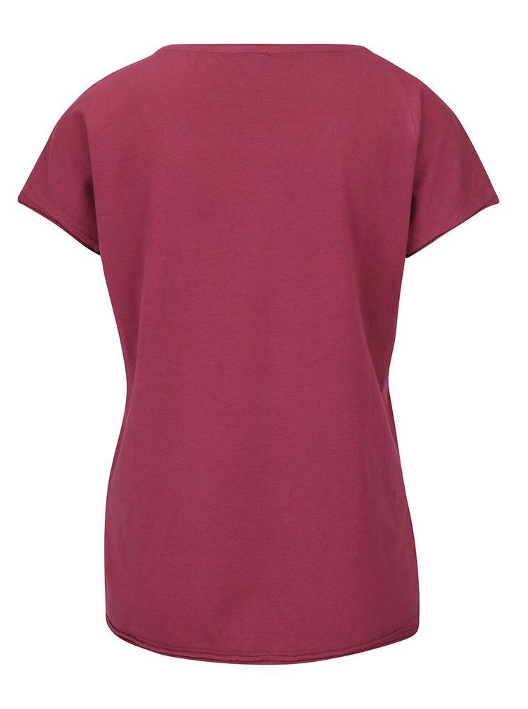 Vínové tričko s aplikací kolem krku ONLY Peony
