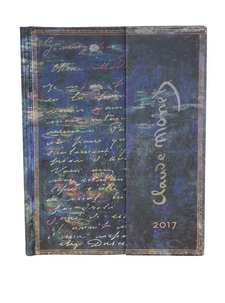 Modrý diár na rok 2017 Paperblanks Monet LettertoMorisot Ultra
