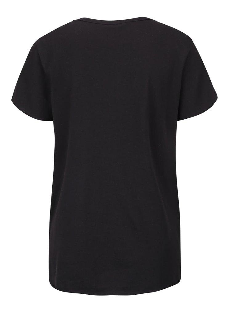 Tricou negru ONLY Rolling Stones din bumbac cu print
