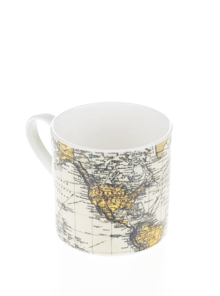 Biely hrnček s potlačou mapy Gift Republic