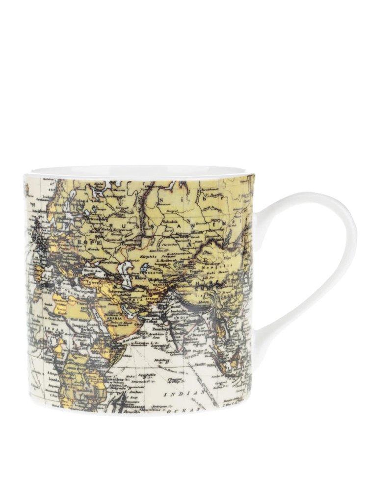 Bílý porcelánový hrnek s potiskem mapy Gift Republic