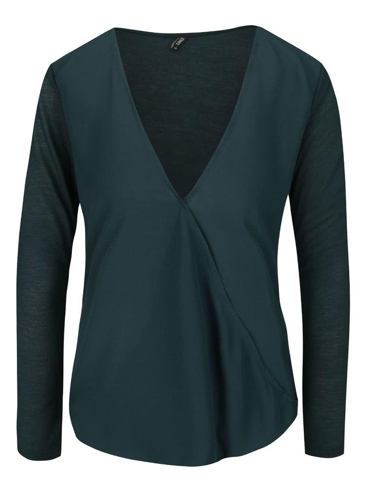 Bluza verde inchis ONLY Palma cu croi asimetric