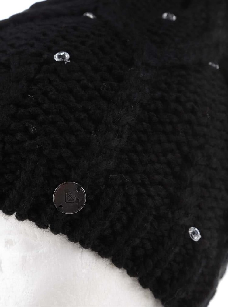 Čierna čiapka s aplikáciami Roxy Shootstarbeanie