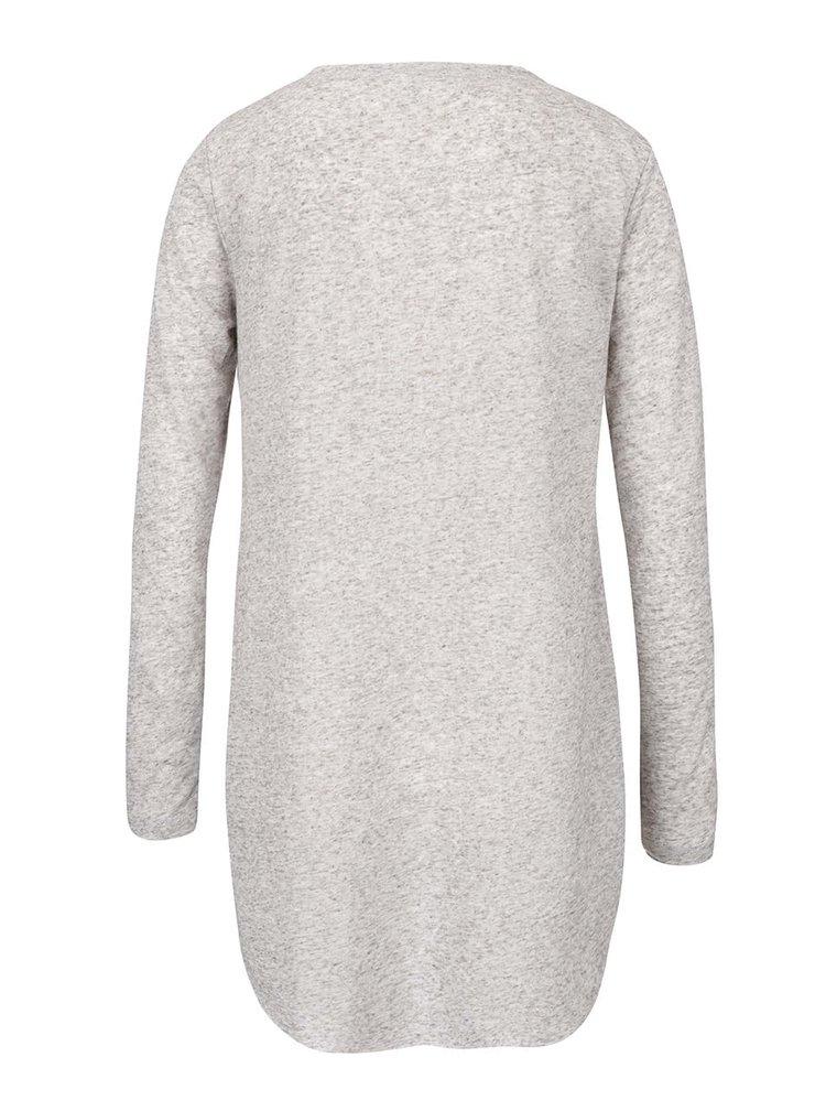 Bluză gri deschis ONLY Clara cu print și tiv asimetric