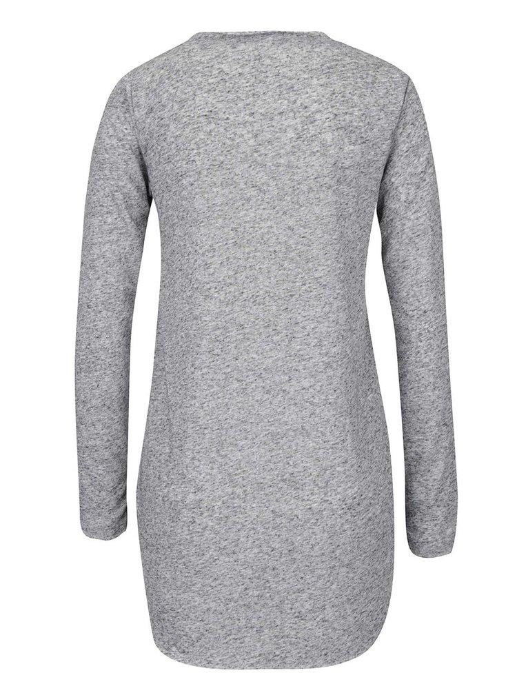 Tmavě šedé žíhané tričko s potiskem a rozparky ONLY Clara