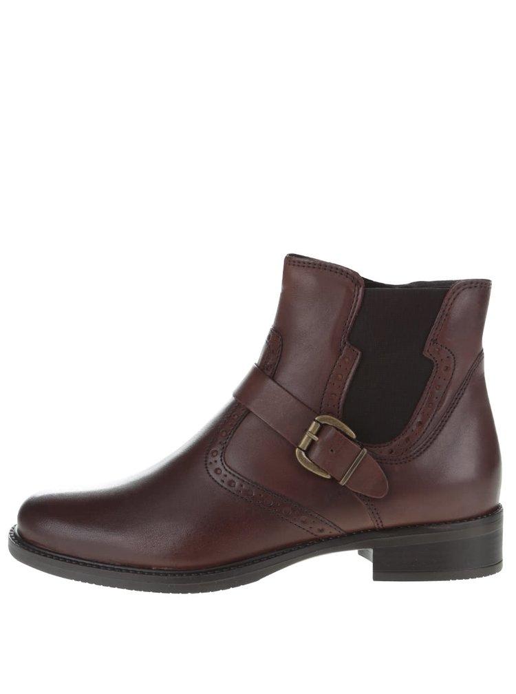 Tmavě hnědé kožené chelsea boty s přezkou Tamaris