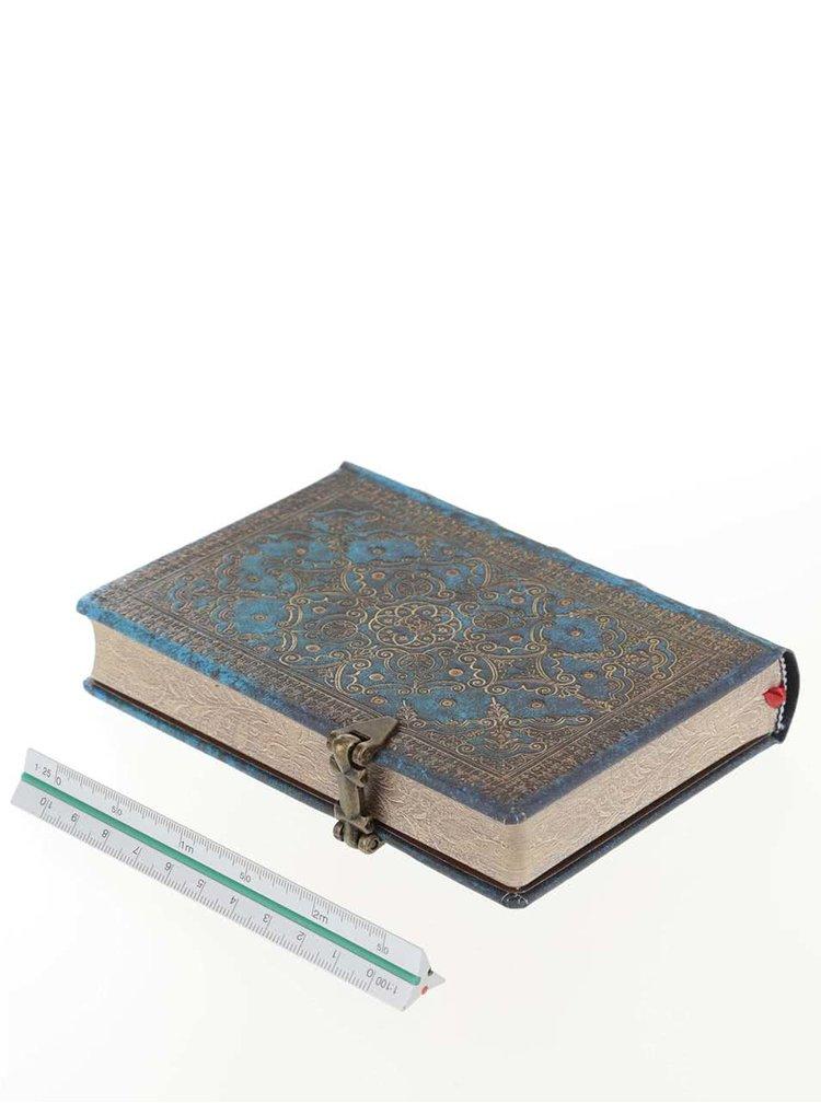 Zlato-modrý vzorovaný linkovaný zápisník Paperblanks Azure Mini