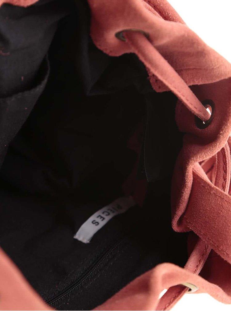 Červený kožený vak cez rameno s ozdobným strapcom Pieces Janini