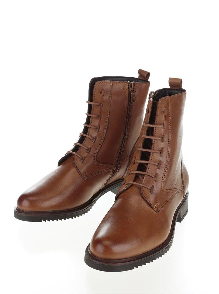 Světle hnědé kožené vyšší kotníkové boty Tamaris