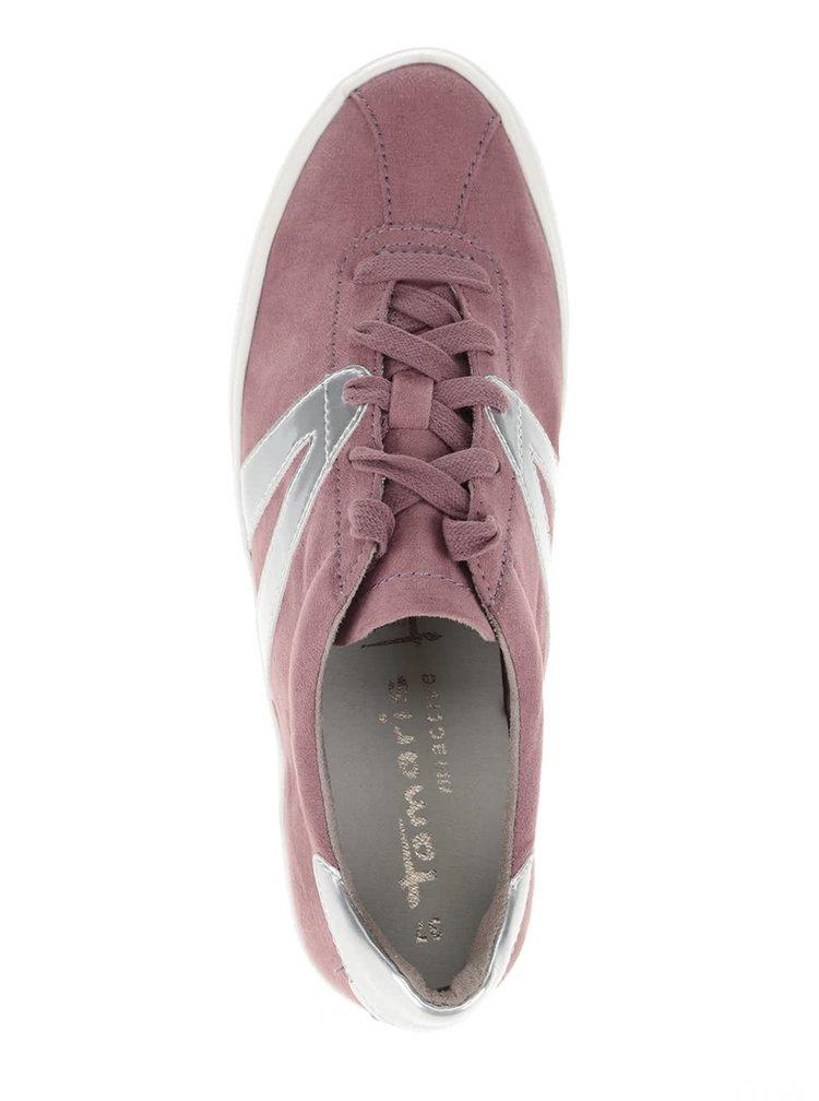 Růžové tenisky s detaily ve stříbrné barvě Tamaris