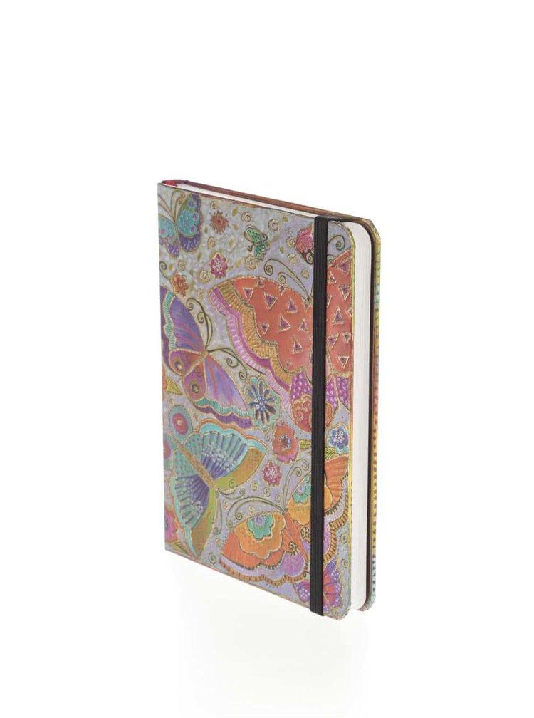 Oranžovo-fialový linkovaný zápisník s potiskem motýlů Paperblanks Flutterbyes Midi