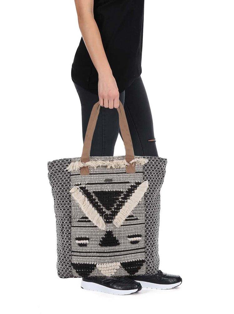 Krémovo-čierny shopper Roxy Rama
