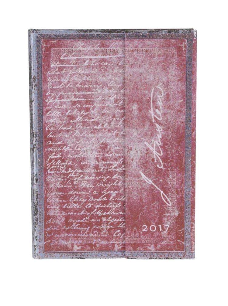 Tmavoružový diár na rok 2017 Paperblanks Jane Austen Midi