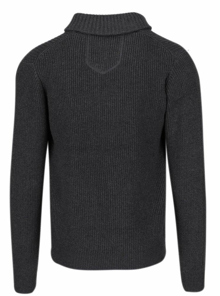 Tmavě šedý žíhaný pánský svetr Casual Friday