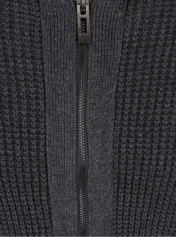 Tmavosivý melírovaný pánsky sveter Casual Friday