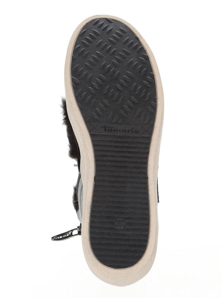 Teniși gri Tamaris cu blană ecologică