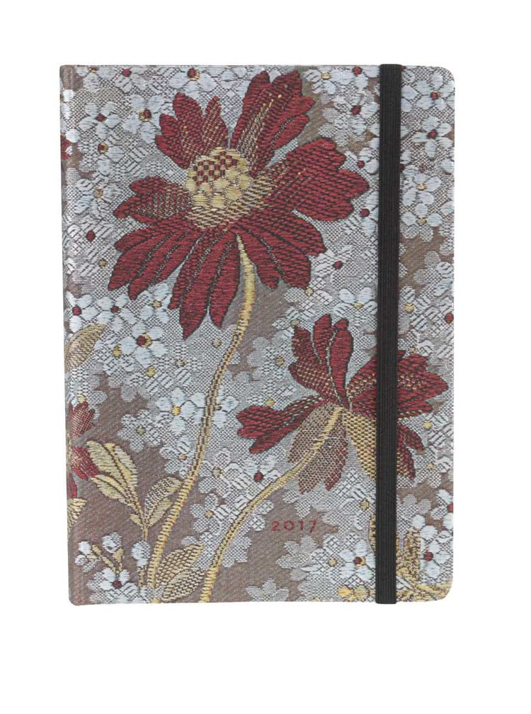 Červeno-šedý diář s potiskem květů na rok 2017 Paperblanks Painted Lady Midi