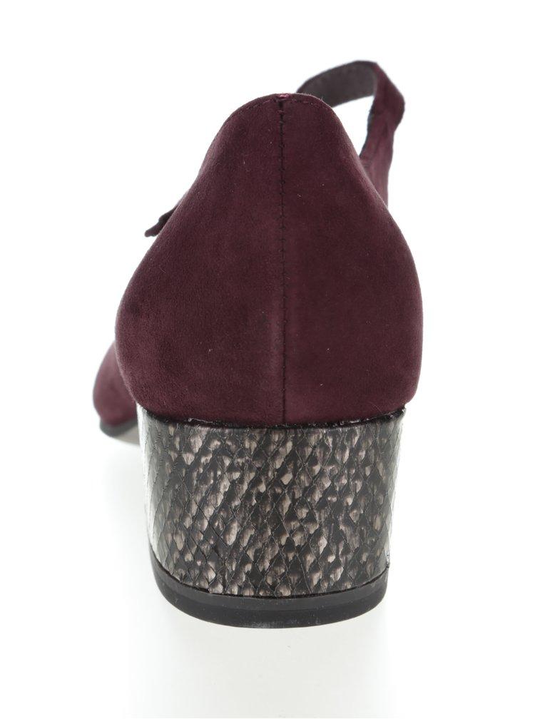 Pantofi cu toc jos Tamaris vișinii