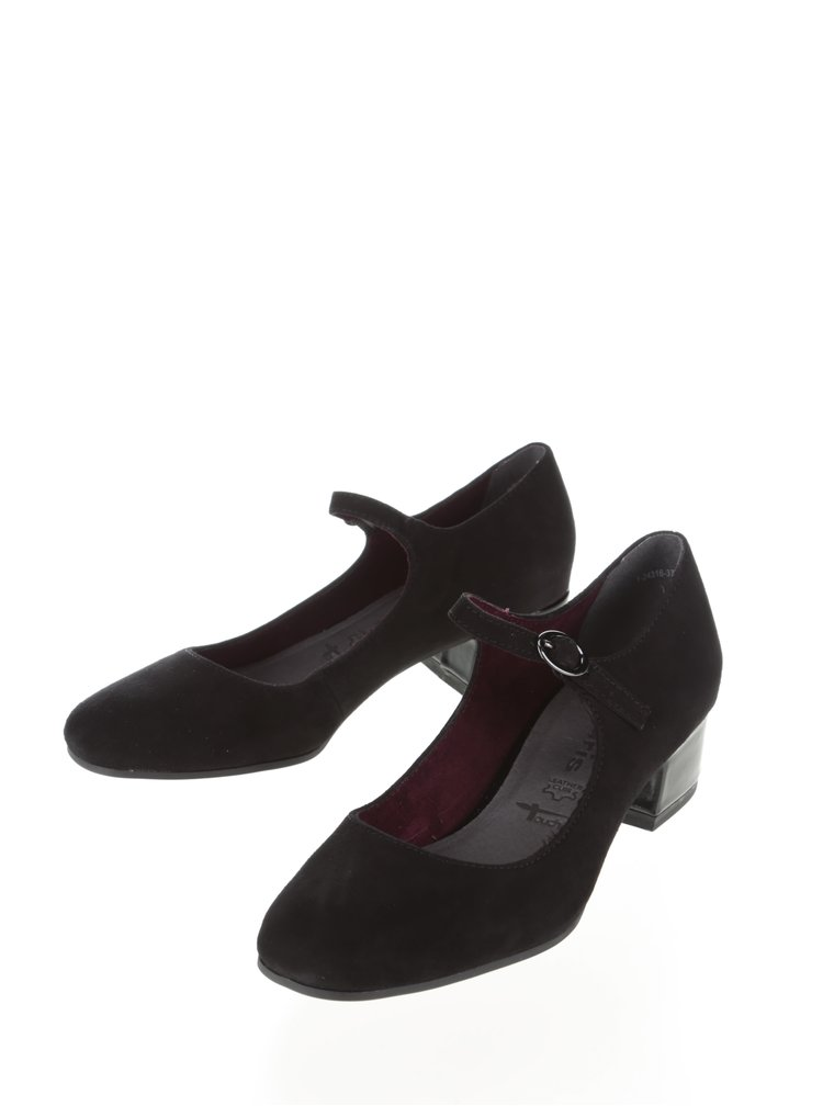 Pantofi cu toc jos Tamaris negri